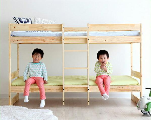 デザインを楽しむおしゃれな北欧テイストの国産ひのき二段ベッド/2段ベッド(ナチュラル)ホームカミング Homecoming NH01