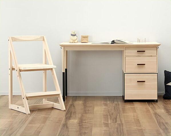 木とスチールのずっと使えるつくえ+学習椅子2点セット