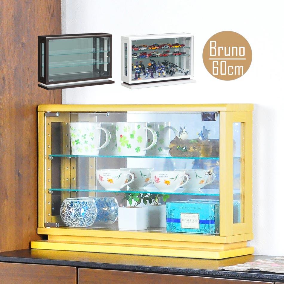 【送料無料】コレクションケース LED ブルーノ 60 コレクションボード ガラス コレクションラック 完成品 ロータイプ フィギュア ひな壇 棚 ホワイト ブラウン ガラス コレクションボックス led フィギ