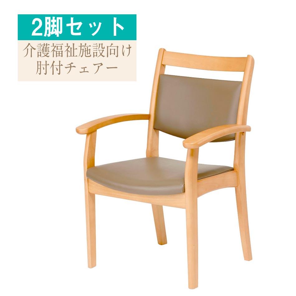 ダイニングチェア 介護施設 背もたれ付き 肘付き お年寄り デイケア 介護用 高齢者 チェア チェアー イス いす ダイニングチェアー 食卓椅子 Care-AC-002-IN 肘付チェア 2脚入