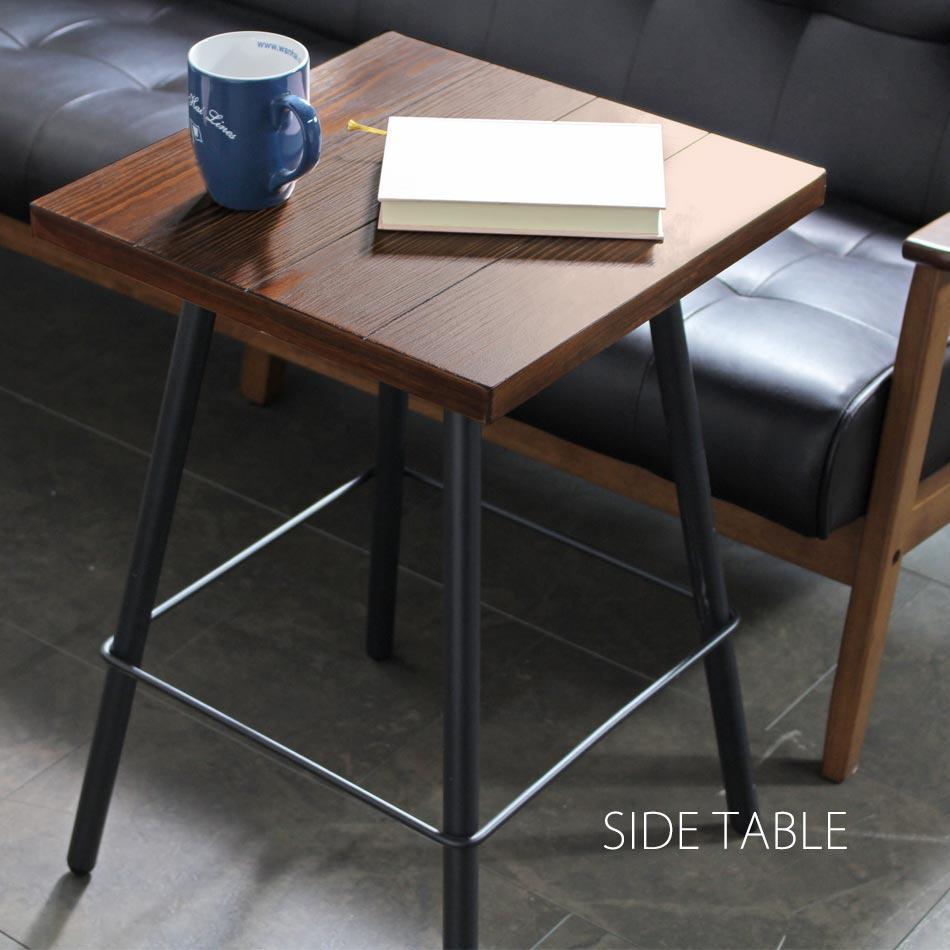 サイドテーブル 木製 Deep アンティーク調 カフェ テーブル サイドチェスト ベッド サイドテーブル 木製テーブル おしゃれ ブラック 黒 スチール リビング 北欧 シンプル アンティーク風 モダン レトロ ナイトテーブル