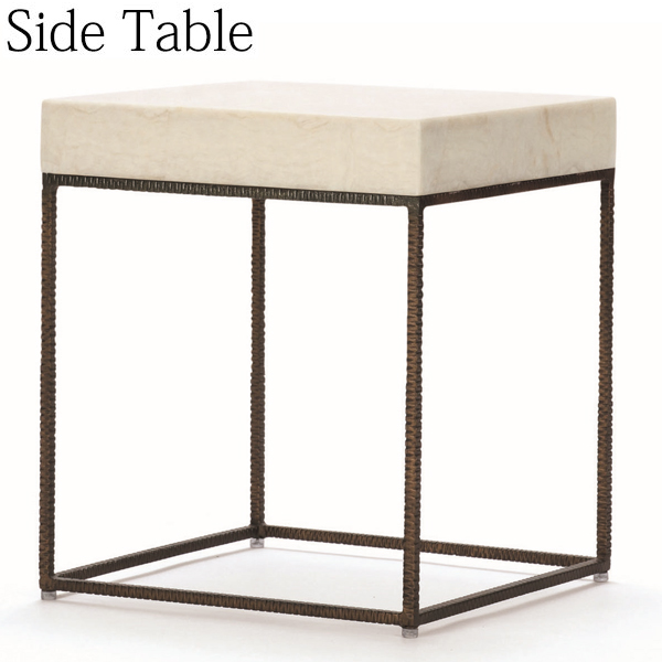 サイドテーブル AP-0008 机 テーブル カフェテーブル コーヒーテーブル ストーン天板 アイアン 幅50cm 奥行50cm