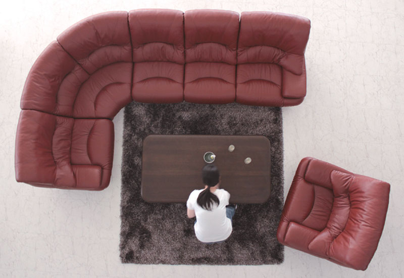 Corner Sofa Set Drawing Separate Type Leather Feather AS 0261 Living Lobby Reception Room Entrance Bar Lounge Nordic Cafe Dining Simple
