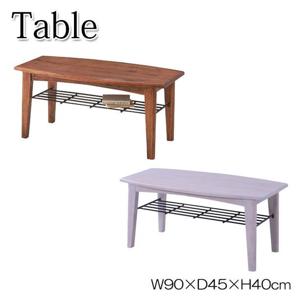 コーヒーテーブル AZ-0569 ローテーブル 机 センターテーブル リビングテーブル 天然木 棚 アイアン 幅90cm 奥行45cm ブラウン