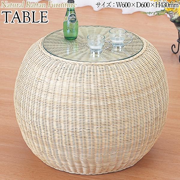 テーブル 机 センターテーブル カフェテーブル ガラス天板 幅60 奥行60 高さ43cm ラタン家具 籐家具 天然素材 IS-0201