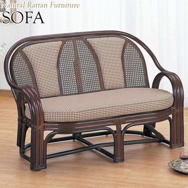 ラブソファー 椅子 2Pソファ 2人用 幅114 奥行63 高さ74cm ラタン家具 籐家具 天然素材 IS-0221