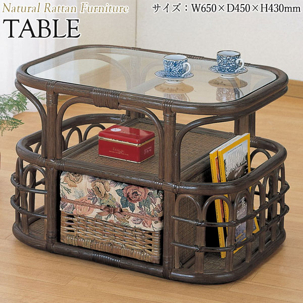 テーブル 机 センターテーブル ローテーブル ガラス天板 幅65 奥行45 高さ43cm ラタン家具 籐家具 天然素材 IS-0227