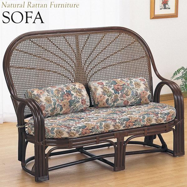 ラブソファー 椅子 IS-0386 2Pソファ 2人用 幅124 奥行63 高さ93cm ラタン家具 籐家具 天然素材