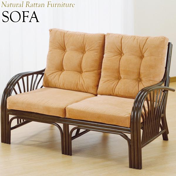 ラブソファー 椅子 2Pソファ 2人用 幅125 奥行78 高さ84cm ラタン家具 籐家具 天然素材 IS-0390