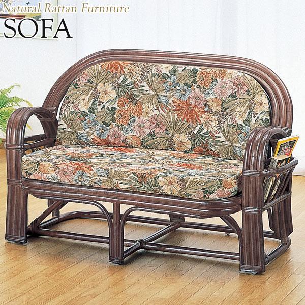 ラブソファー 椅子 2Pソファ 2人用 幅120 奥行61 高さ75cm ラタン家具 籐家具 天然素材 IS-0394
