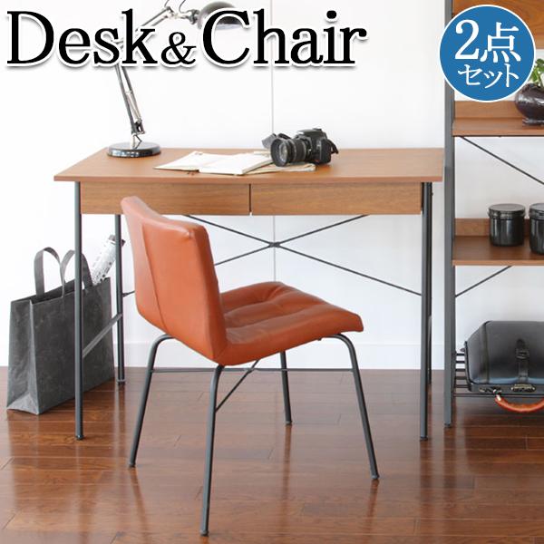 2点セット デスク チェア IT-0020 テーブル 机 作業台 椅子 収納 アイアン ウォールナット 天然木 木製, カワナベチョウ:1d0336dd --- asc.ai