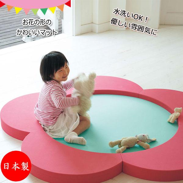 フロアマット KS-0027K ルームマット ジョイントマット EVAマット 花 フラワー型 プレイマット おもちゃ こども 子ども 子供 簡単設置 清潔 水洗い可能
