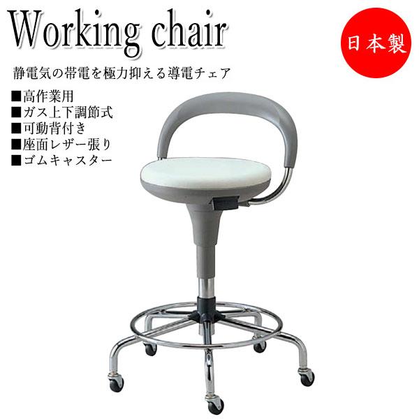 導電チェア 作業椅子 スツール ワークチェア オペレータチェア 製図 ハイタイプ 背付 レザー張り ゴムキャスター付 ガス上下調節 NO-0638