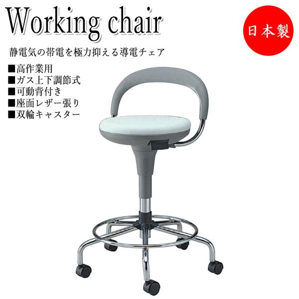 導電チェア 作業椅子 スツール ワークチェア オペレータチェア 製図 ハイタイプ 背付 レザー張り ウレタンキャスター付 ガス上下調節 NO-0639