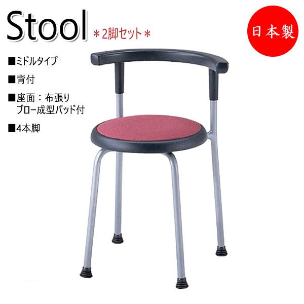2脚セット 背付スツール 作業椅子 業務用チェア 丸イス ダイニングチェア 食堂椅子 ワークチェア 布張り スチール4本脚 NO-0668D