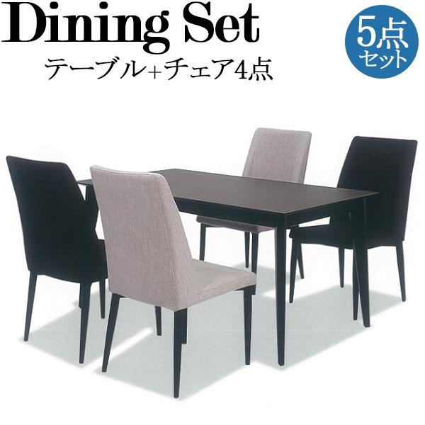 ダイニング5点セット テーブル チェア4脚 食卓 4人用 リビング インテリア 家具 BK脚仕様 セラミック天板 ウレタン ファブリック 幅約140cm TN-0058