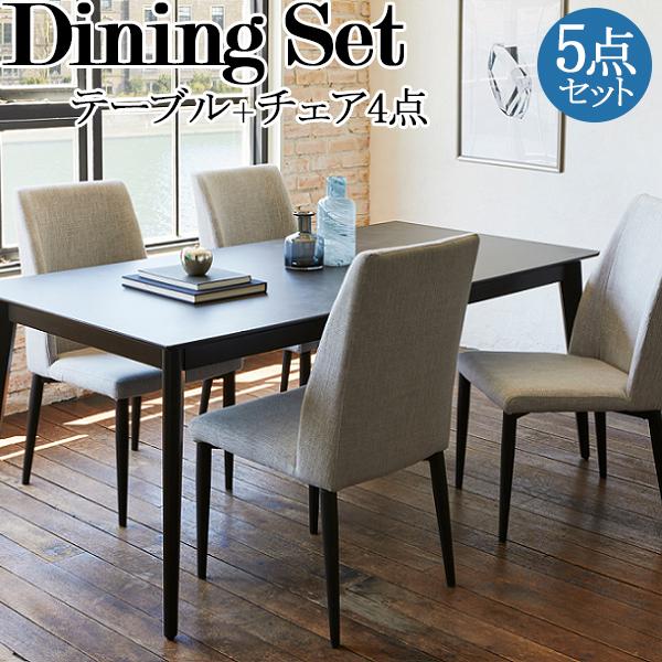 ダイニング5点セット テーブル チェア4脚 食卓 4人用 リビング インテリア 家具 BK脚仕様 セラミック天板 ウレタン ファブリック 幅約180cm TN-0165