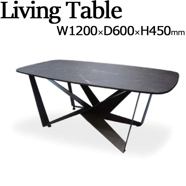 リビングテーブル センターテーブル ローテーブル 食卓 ダイニング インテリア 家具 角型 四角 長方形 セラミック天板 強化ガラス スチール 幅約120cm TN-0187