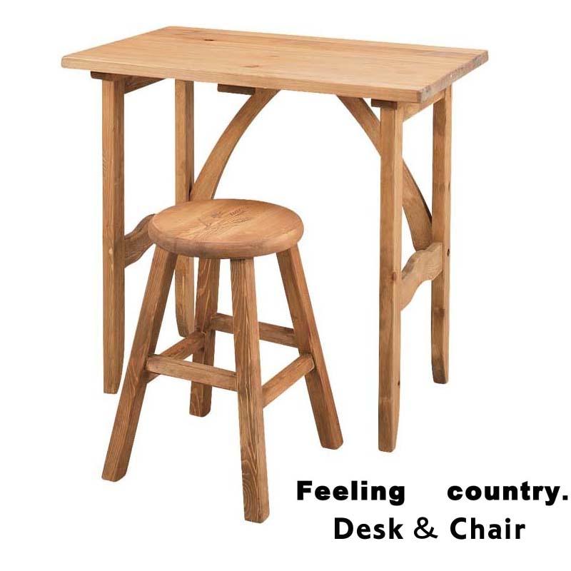 (キャッシュレス 還元)デスク&チェア 送料無料 デスク2点セット 天然木 パイン材 机 ミニデスク キッチンデスク ナチュラル カントリー 机 椅子 デスク&チェア オイル仕上げ テーブル 椅子 イス 木製 肘掛けなし