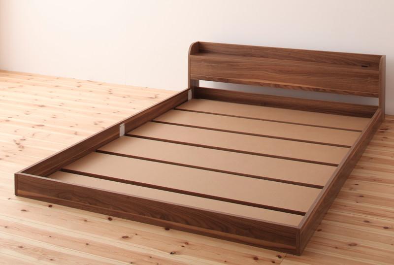 (お買い物マラソン)ベッド フロアベッド 【フレームのみ】シングル 欧州風の木目を贅沢に使ったベッド ロータイプベッド ローベット 木製ベット ロータイプ ブラウン ホワイト ヘッドボード 送料無料