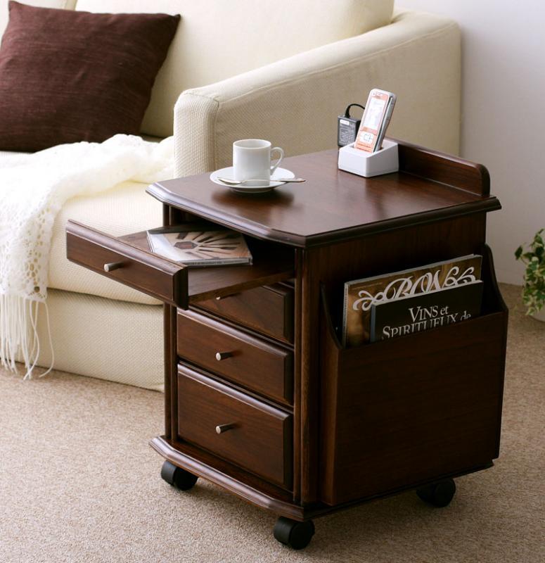 (キャッシュレス)天然杢コンセント付サイドテーブル・ソファ・ベッドのそばに置くだけで便利・キャスター・引き出し・テーブル付 アンティーク 木製 北欧 テーブル 脚 キャスター脚 送料無料