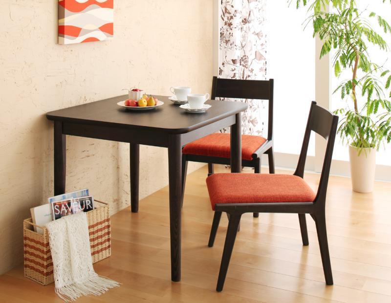 (お買い物マラソン)天然木ロースタイルダイニング 3点セット テーブル チェア×2 幅75センチ キッチン テーブルセット モダン 北欧 テーブル 脚 木製脚 送料無料