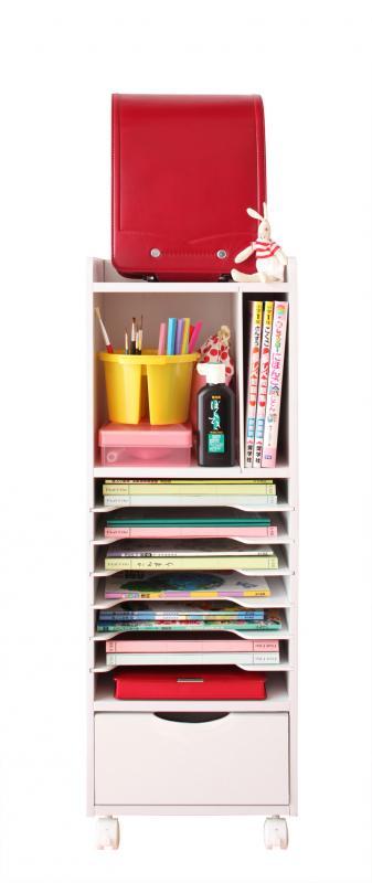 ランドセルラックAタイプ 完成品 リビング学習に教科書やランドセルが収納できるラック。B5サイズ(教材)A4サイズ横置き重ね、キャスター付きで完成品、ホワイト(白)ナチュラル 9段 書棚 ラック 棚 収納 売り切れゴメン。