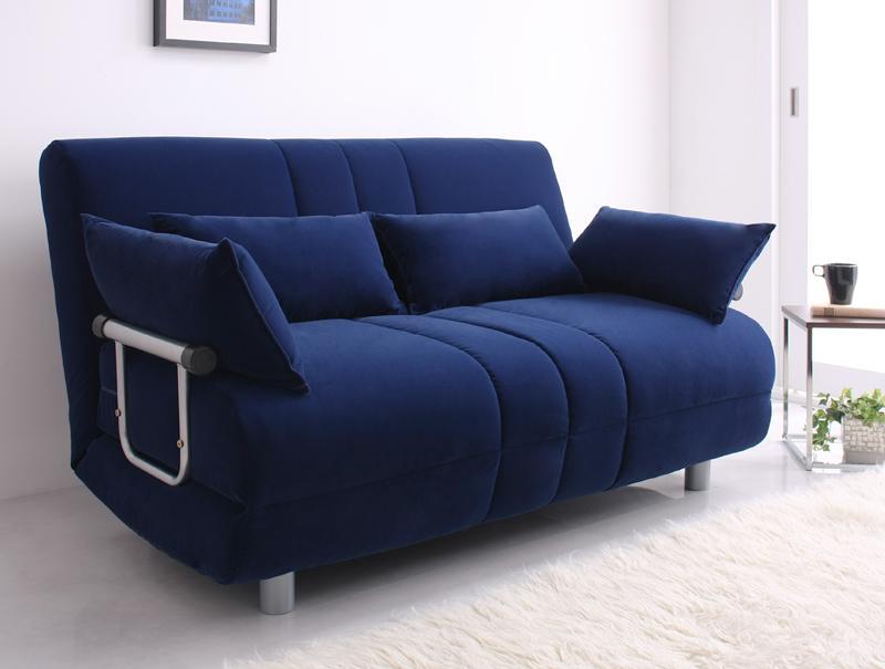 ソファベッド ソファー ふたり寝られるカウチソファベッド ダブルサイズ ソファベッド ベッド カウチ 二人掛け 固め ブラウン ネイビー 送料無料