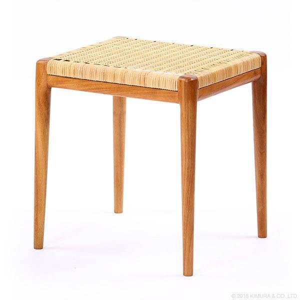 【8/16 23:59まで限定 最大300円OFFクーポン配布中】スツール チェア 椅子 イス 木製 チーク材 ラタン 籐製 北欧 ナチュラル デザイン やわらかい座り心地
