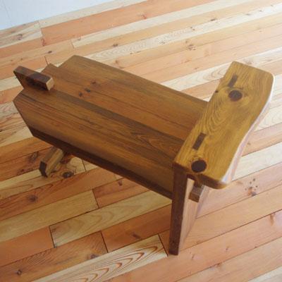 【手造り工房楽製】古材でつくった地松片肘付スツール 02P24Aug12
