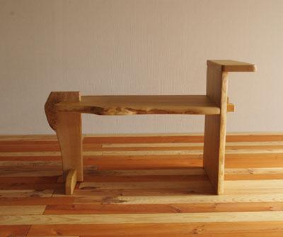 【手造り家具工房楽製】 栗のミミ付片肘スツール