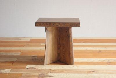【手造り家具工房楽製】 古材をつかった地松のスツール(Xタイプ/H355)