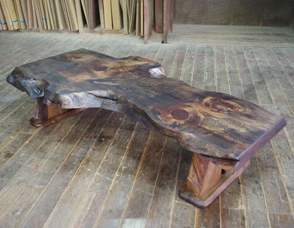 【開梱設置付】 松一枚板のいびつなローテーブル 02P09Dec09