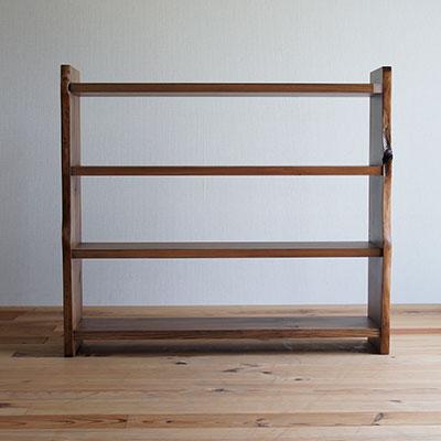 【家具製造販売】古材を再利用した地松飾り棚 器シリーズ 4段シェルフ (幅90cm)