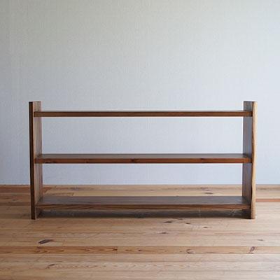 【家具製造販売】古材を再利用した地松飾り棚 器シリーズ 3段シェルフ (幅110cm)