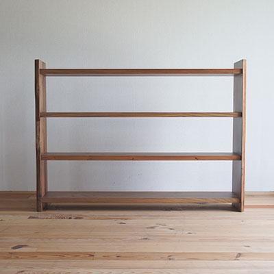 【家具製造販売】古材を再利用した地松飾り棚 器シリーズ 4段シェルフ (幅110cm)