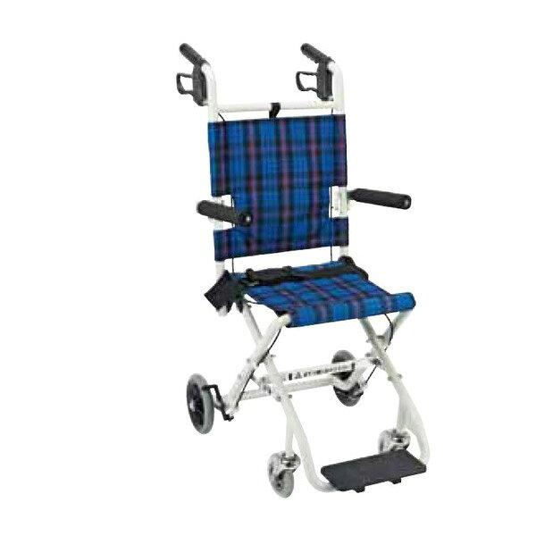 マキライフテック コンパクト車椅子 のっぴープラス(折り畳み式)介助式 背固定タイプ NP-001NC ネイビーチェック 介助用車椅子 車いす 車イス 折りたたみ 軽量 アルミ おしゃれ 【送料無料】