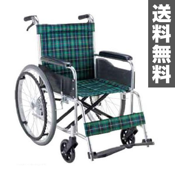 マキテック(マキライフテック) 自走式 車椅子 折り畳み ノーパンクタイヤ【非課税】背固定タイプ EW-20GN 緑チェック(ナイロン) 自走用車椅子 車イス 車いす アルミフレーム 折りたたみ 【送料無料】