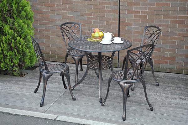 ガーデンマスター アルミガーデンテーブル&チェア(5点セット) KAGT-90/KAGC-37 ガーデンファニチャーセット ガーデンテーブル ガーデンチェア  山善/YAMAZEN/ヤマゼン 0711P