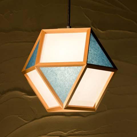 和照明 的 mato-L 【タイプD:白×藍】木製フレーム 強化和紙ペンダントライト 国産 和風照明 木組+和紙(ワーロン) 和風和室照明 インテリア照明 【送料無料】