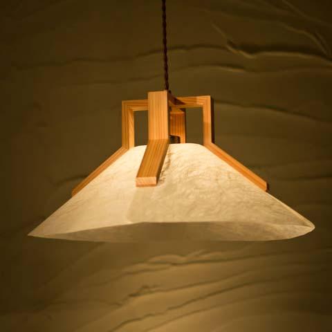 和照明 回 kai 【Lサイズタイプ1灯】木製フレーム 強化和紙ペンダントライト 国産 和風照明 木組+和紙(ワーロン) 和風和室照明 インテリア照明 【送料無料】