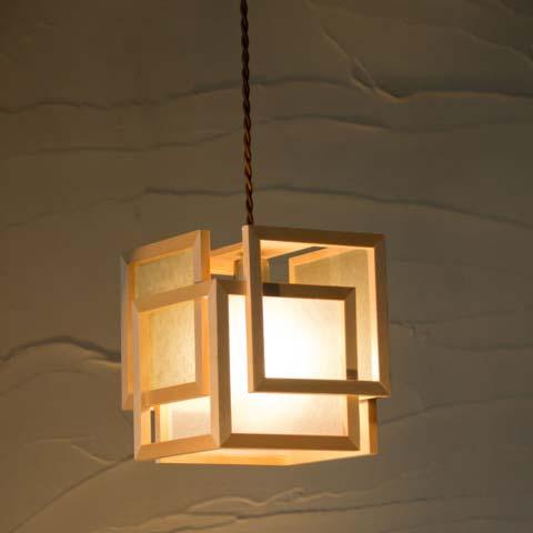 和照明 旬 shun【Aタイプ:白×白】木製フレーム 強化和紙ペンダントライト 国産 和風照明 木組+和紙(ワーロン) 和風和室照明 インテリア照明 【送料無料】