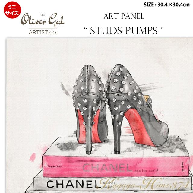 【代引き不可】【ミニサイズ】アートパネル「STUDS PUMPS」サイズ30.4×30.4cm ファッションの絵画 ブランドモチーフポップアート アートフレーム The Oliver Gal Artist Co 渡辺美奈代セレクト