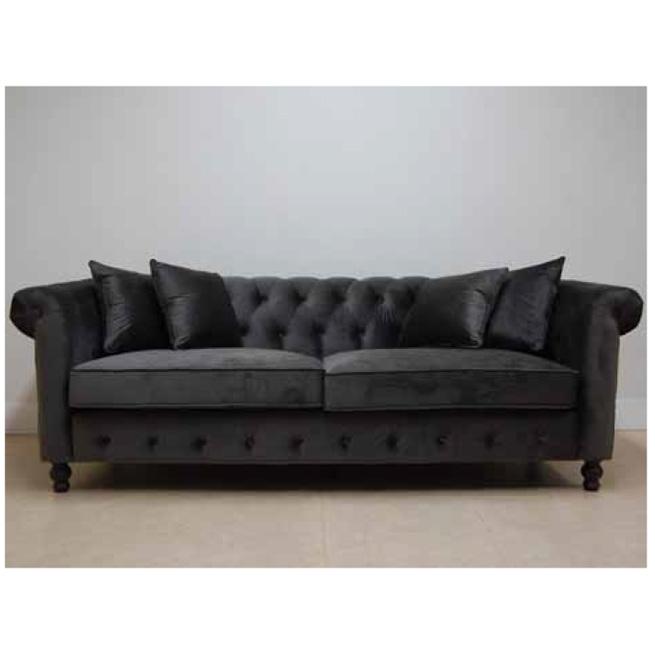 3シーターソファー クッション4個付き ブラック インテリア 椅子 イス いす渡辺美奈代セレクト