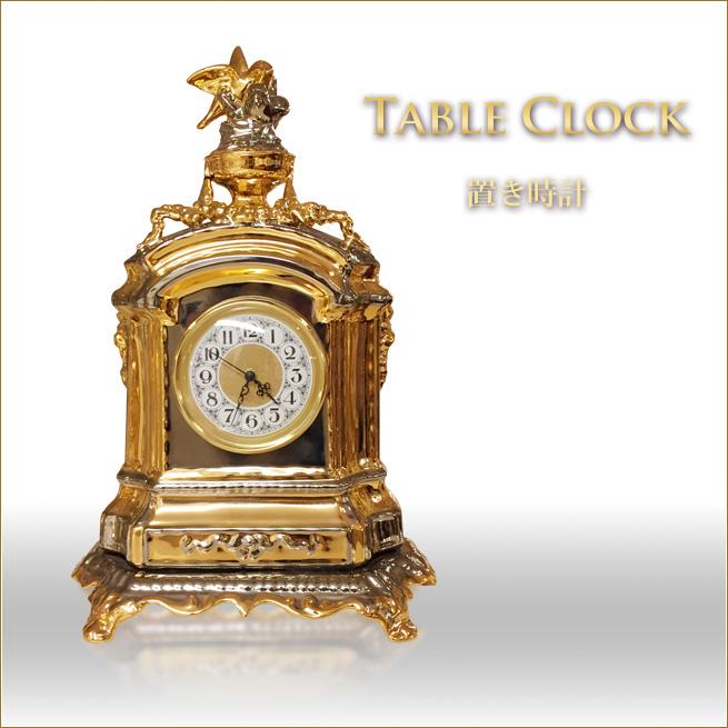置き時計 イタリア製 ゴールド&シルバー 小鳥のデザインクロック デコラティブな置時計 インテリアオブジェ 置物 置き物渡辺美奈代セレクト