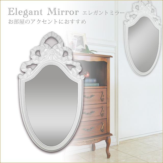 エレガントミラー ホワイト ウォールミラー 壁掛け鏡 壁掛けミラー 姫系インテリア プリンセス家具渡辺美奈代セレクト