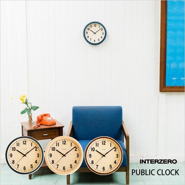 『レビュー投稿で選べる特典』 INTERZERO インターゼロ 「 PUBLIC CLOCK 」 パブリッククロックベーシック アンティーク ビンテージ レトロ 北欧 モダン 振り子時計 時計 壁掛け 掛け時計 おしゃれ ウッド ネイビー ブラウン デザイン 雑貨