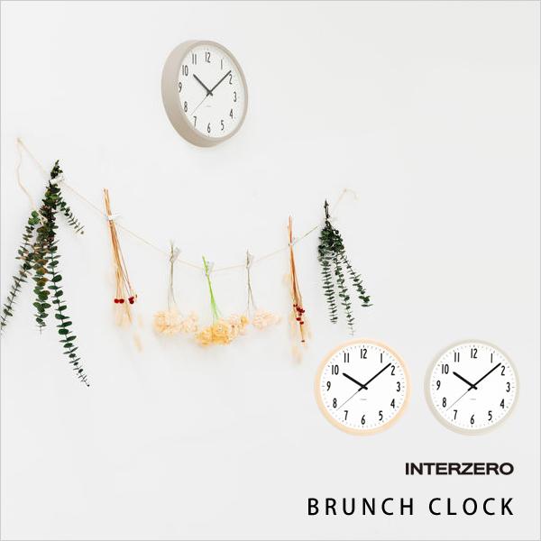 『レビュー投稿で選べる特典』 INTERZERO インターゼロ 「BRUNCH CLOCK」 ブランチクロック CH-035BC CH-035GY 北欧 ナチュラル シンプル モダン 時計 壁掛け 掛け時計 おしゃれ ウッド グレー デザイン インテリア 雑貨