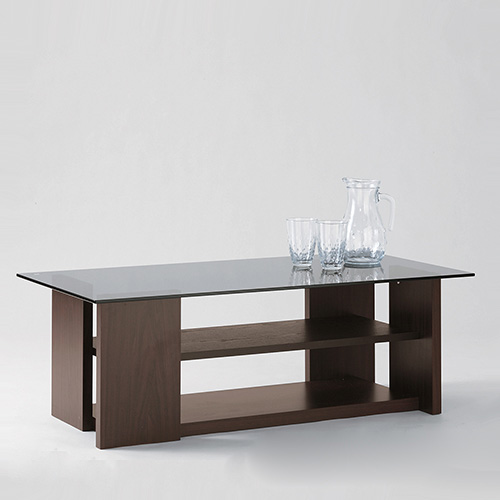 「ガラステーブル」 ブラウン ローテーブル ガラス製天板
