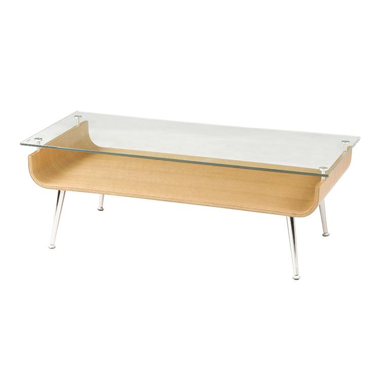 「ガラステーブル」 ナチュラル/ブラウン ローテーブル ガラス天板